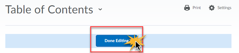 cursor over Done Editing to indicate click
