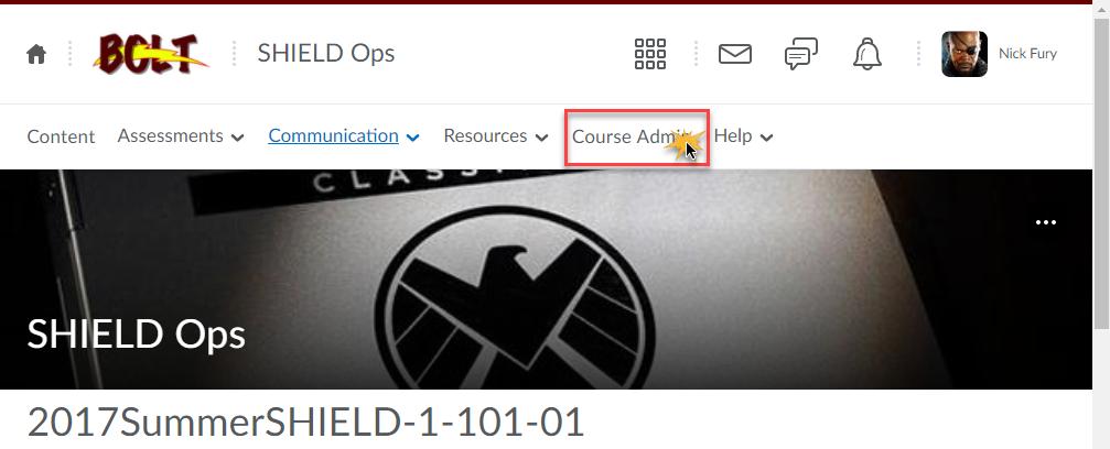 cursor over Course Admin option in navbar to indicate click