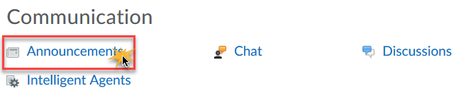 cursor over Announcements in Course Admin panel to indicate clicking it