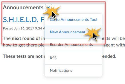 cursor over drop down and New Announcement to indicate sequential clicks