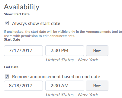 availability options start and end dates