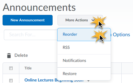 cursors over More Actions button and Reorder option indicating clicks