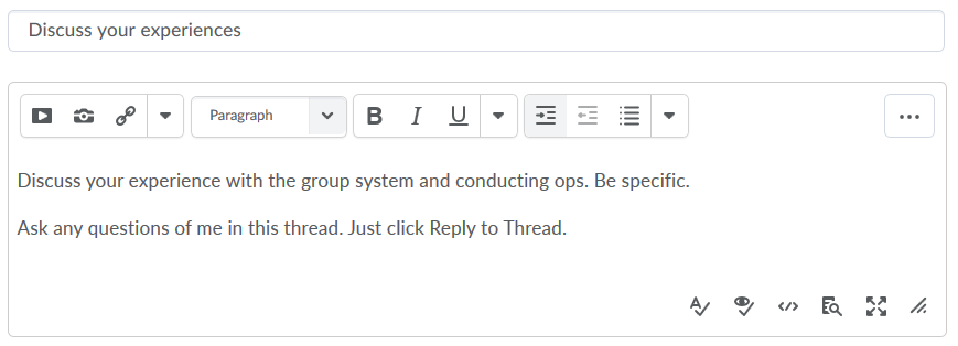thread title and content entered in fields