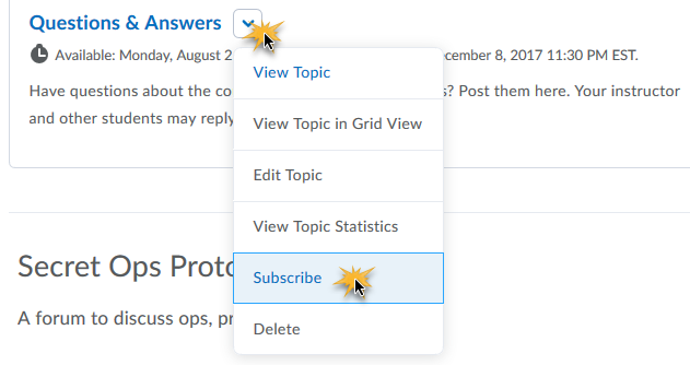 cursor over the drop down arrow beside a topic, and over the Subscribe option