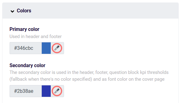 Create your first PDF- report colors