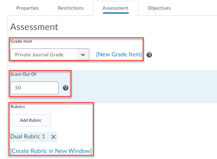 select or create a grade item, make the score out of the same as the points of your grade item, add or create a rubric