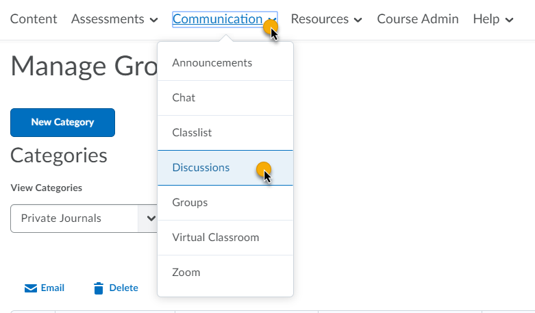 click Communication in the course navbar, then click Discussions