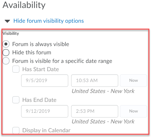 set visibility options such as by selecting forum is always visible