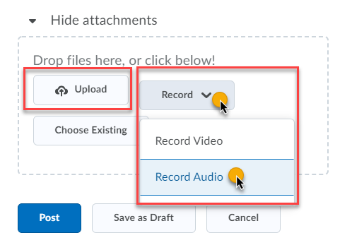 the upload or record options in the attachments area of a thread creation
