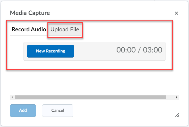 record up to 3 minutes with no editing, or use the upload file option to upload a file