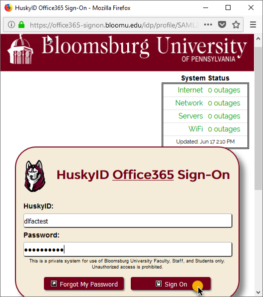 enter your BU credentials and click Sign on