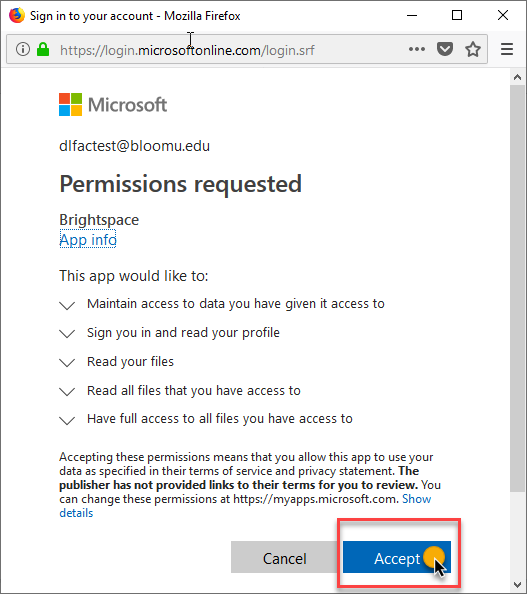 click Accept to give D2L permissions to access OneDrive
