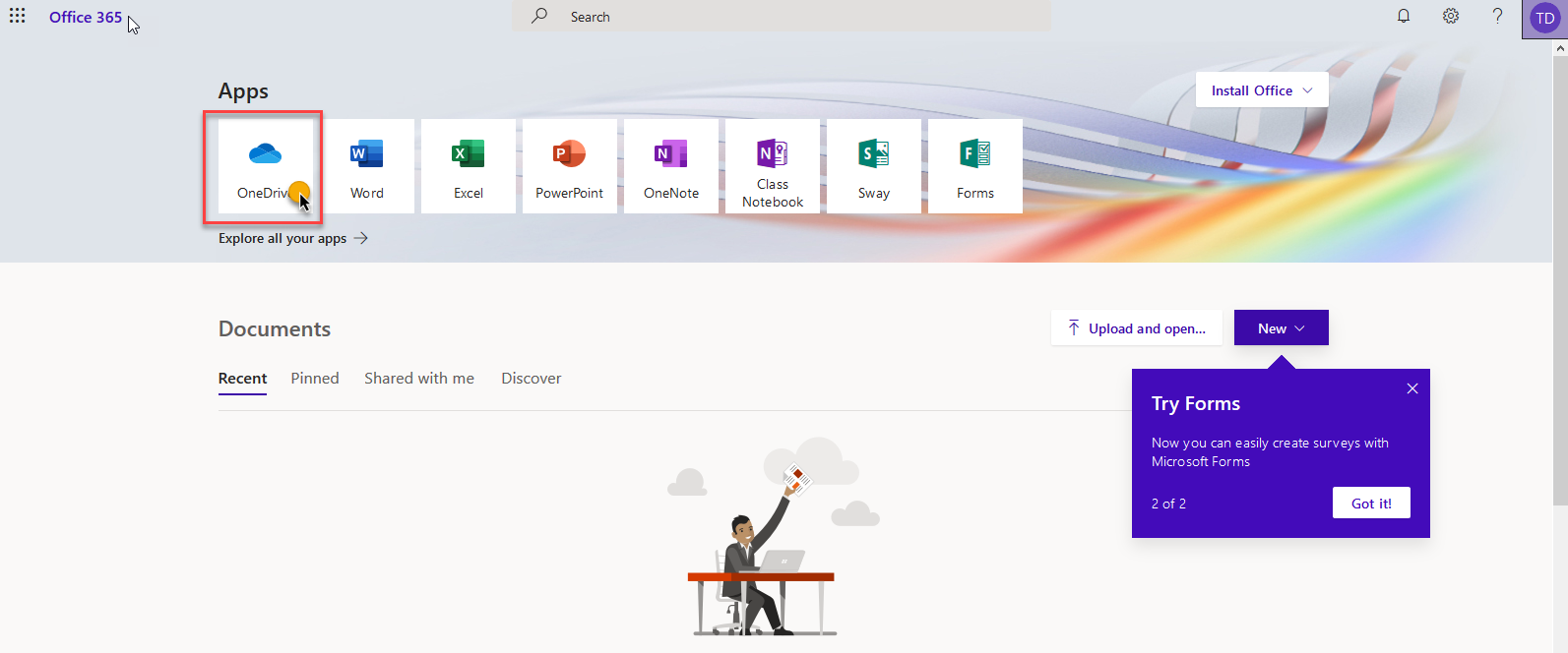 office365 portal with a click on OneDrive indicated