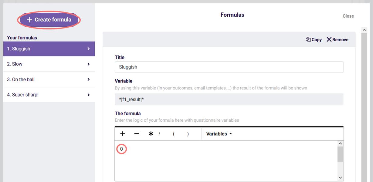 Create formula for question logic