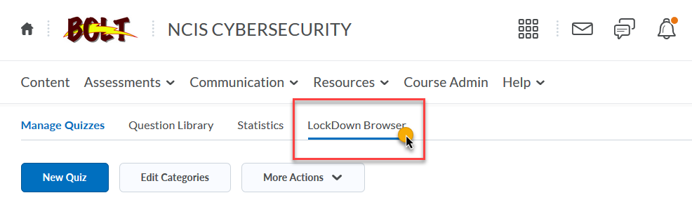 in the Quizzes tool nav, click LockDown Browser