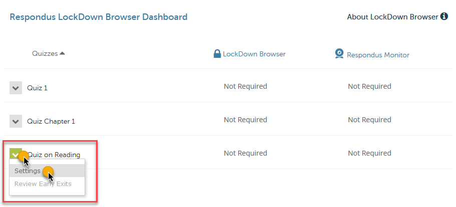 the Respondus LockDown Browser dashboard