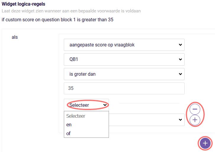 ReportR widget logica regels