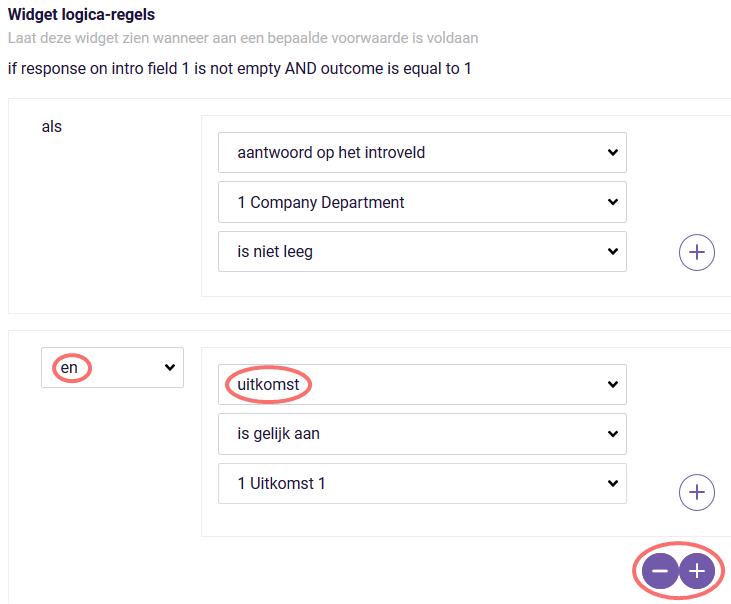 ReportR - widget logica regels uitkomst