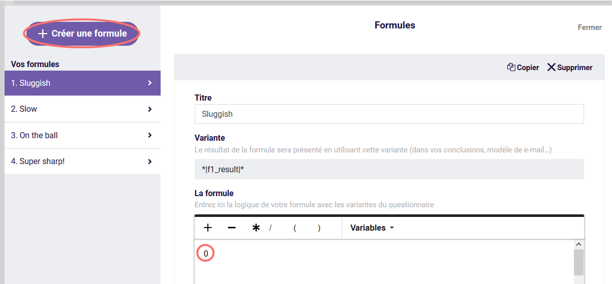 Formule avec logique du questions - Créer une formule