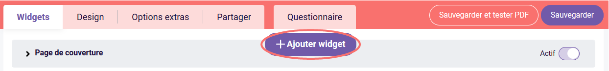 PDF - ajouter widget
