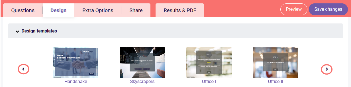 Edit design - design templates
