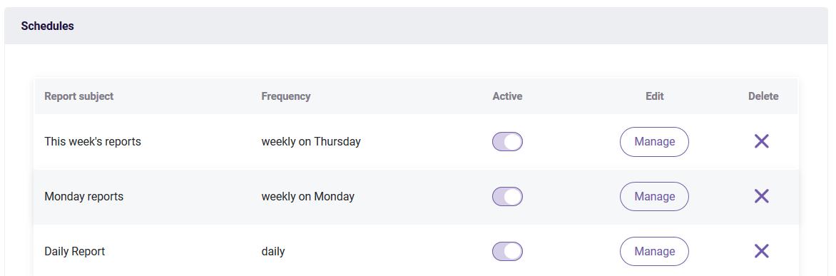 PDF schedules