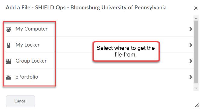 Add a File menu with options: My Computer, My Locker, Group Locker, and ePortfolio.
