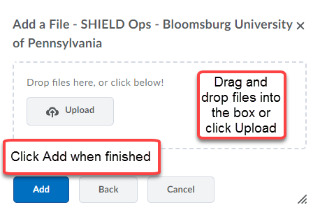 Add a file menu where students can drag and drop files into the upload box or click Upload to browser for files.