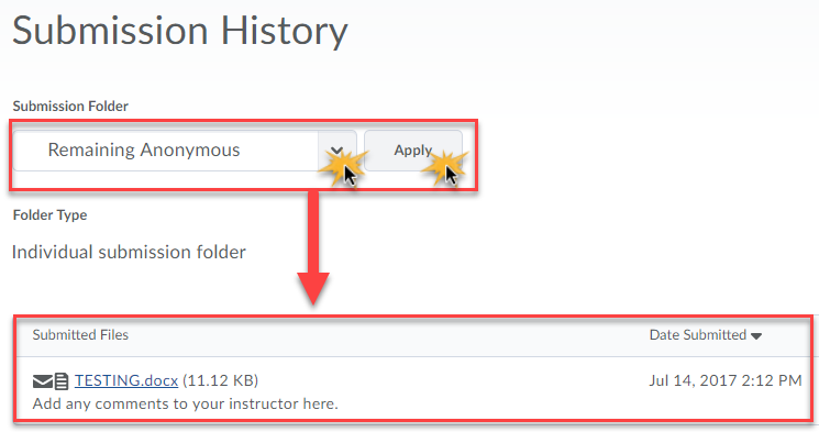 Submission history page with submission folder dropdown highlighted and the submitted files area highlighted.