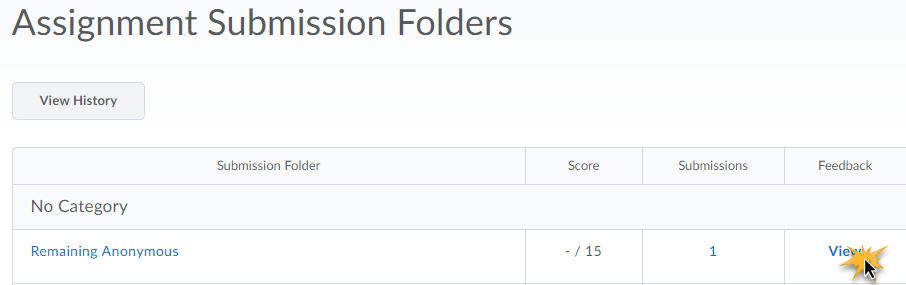 Assignment submission folder page with mouse arrow clicking on the View feedback link.