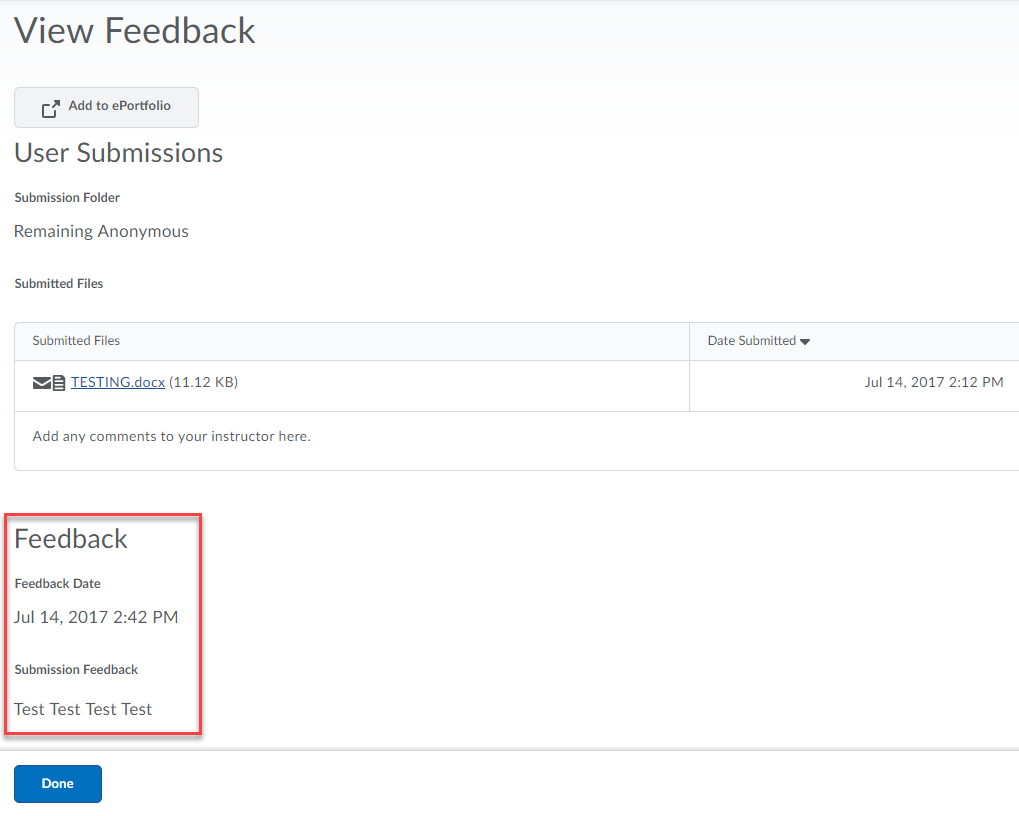View feedback page displaying the user submitted files and the feedback section is highlighted with feedback date and submission feedback displayed.
