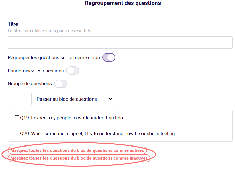 Regroupement - actives questions