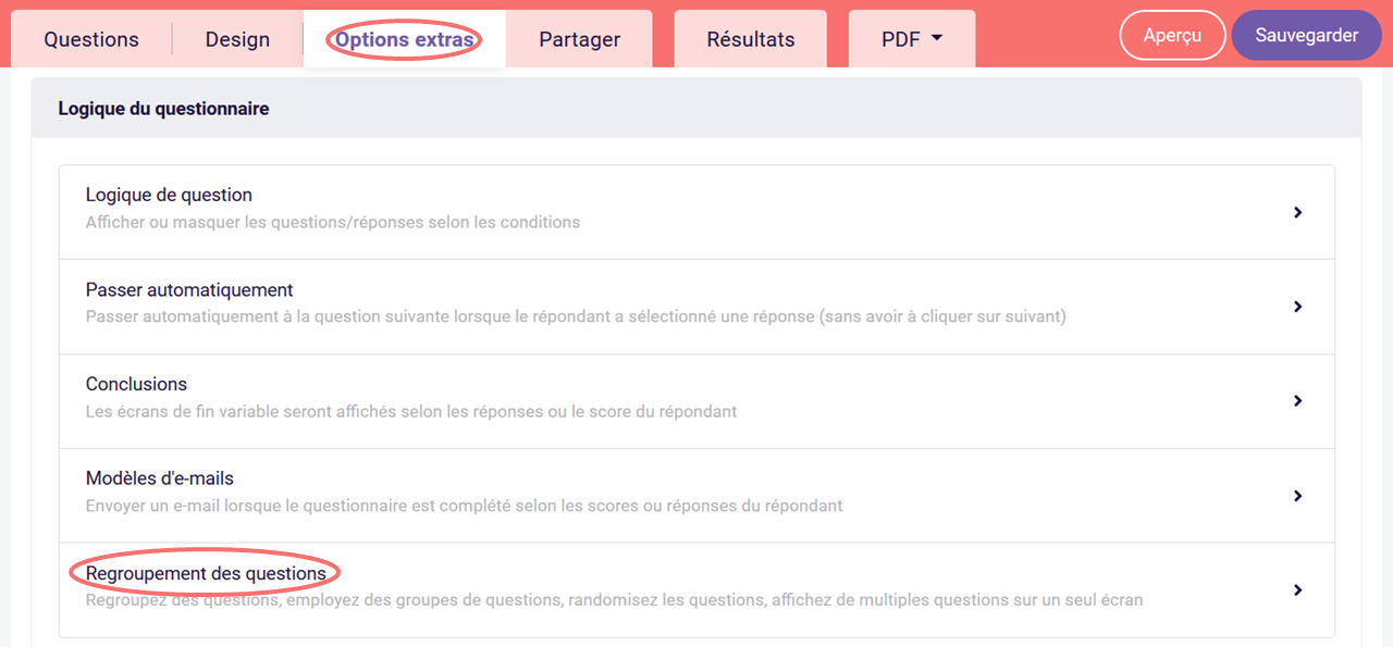 Regroupement des questions - options extras