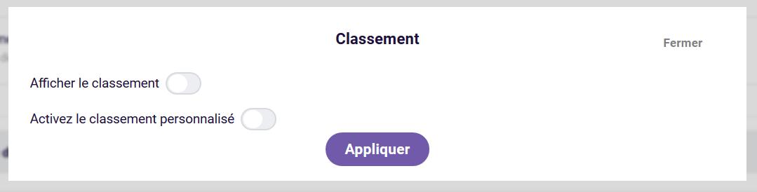Classement - options de type de bord