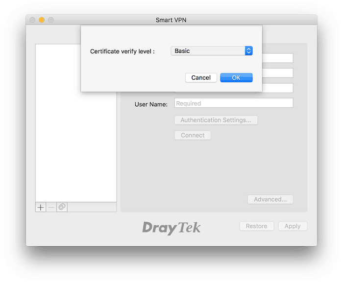 a screenshot of SmartVPN for macOS