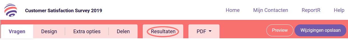 Resultaten tabblad