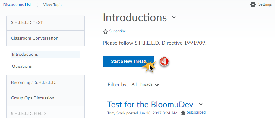 "The discussion topic Introductions is open and displaying a ""Start a New Thread"" button.."