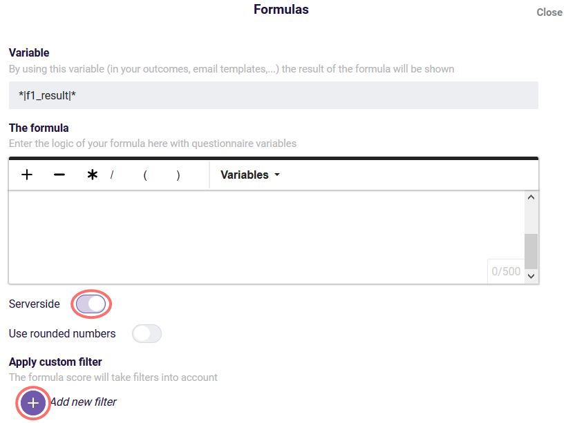 Custom formula filter