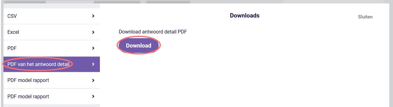 Antwoorden - PDF van het antwoord detail