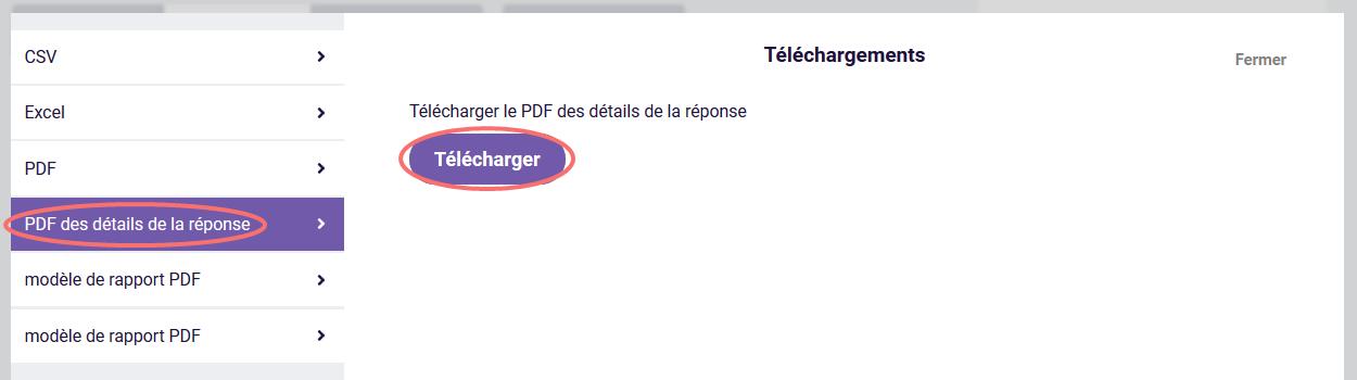 Télécharger PDF des détails de la réponse