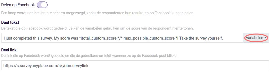 Uitkomsten delen op Facebook