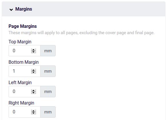 PDF page margins