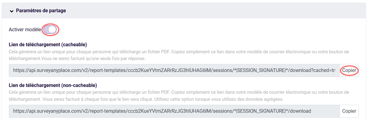 PDF - parametres de partage