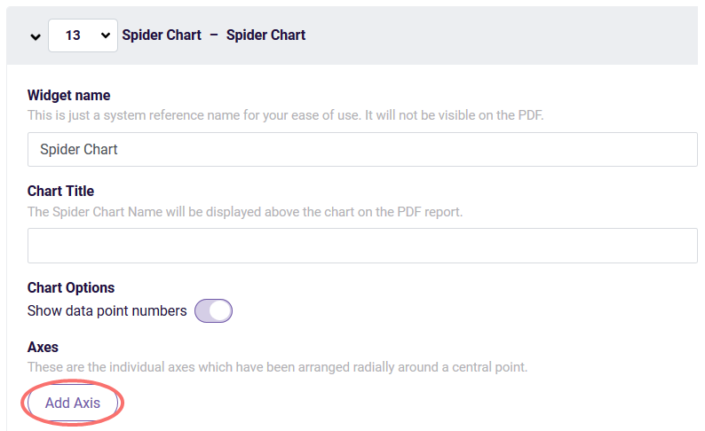 Spider chart - add axis