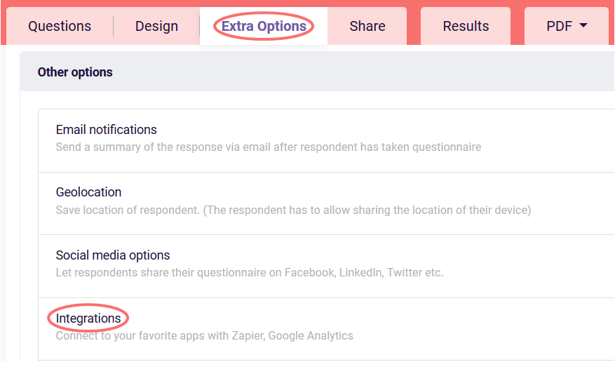 Zapier - extra options tab