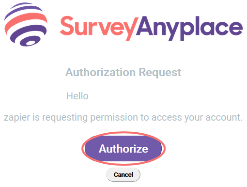 Zap account authorization
