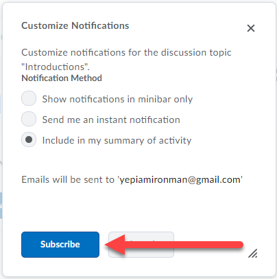Customize Notificatoins window with serveral options to choose.  An email address is displayed where notifications will be sent.