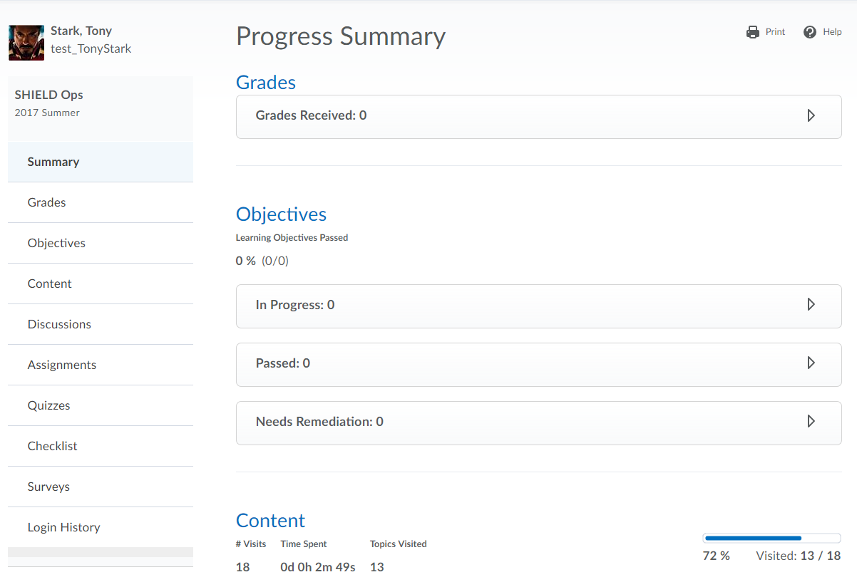 Progress Summary window displaying an overview of progress through course.  The left hand-side has a list of specific tools and areas to view progress.