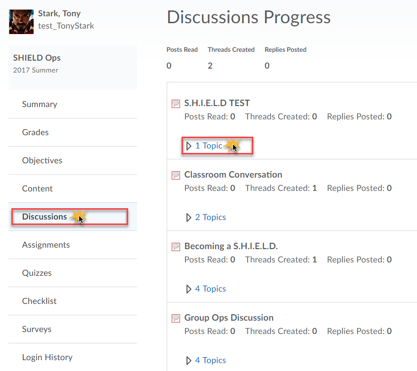 Discussion progress displaying for user Tony Stark and listing all threads / topics..