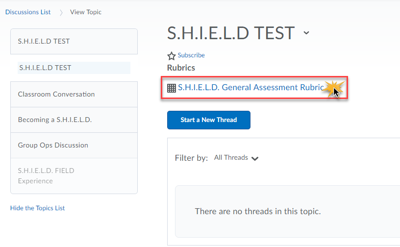 Topic S.H.I.E.L.D TEST displayed and associated rubric is selected.